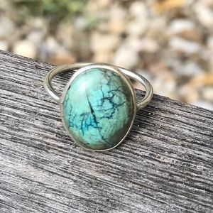 925 Sterling Silver Turquoise Gem Ring Size 6